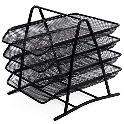 Organiser Tray - Zuvo Mesh Desk Organiser 4 Tier Letter Tray Organizer Office Desktop Document Paper File Storage Mesh Filling Collection for Home &Office Use (BLACK)