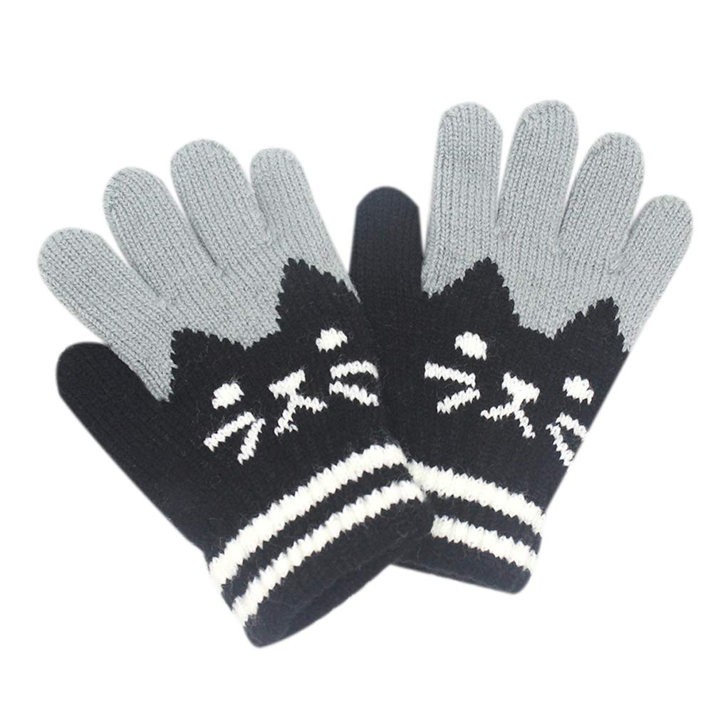 Kids Boys Girls Warm Windproof Gloves Cute Cat Striped Winter Mittens 2 to 6Y