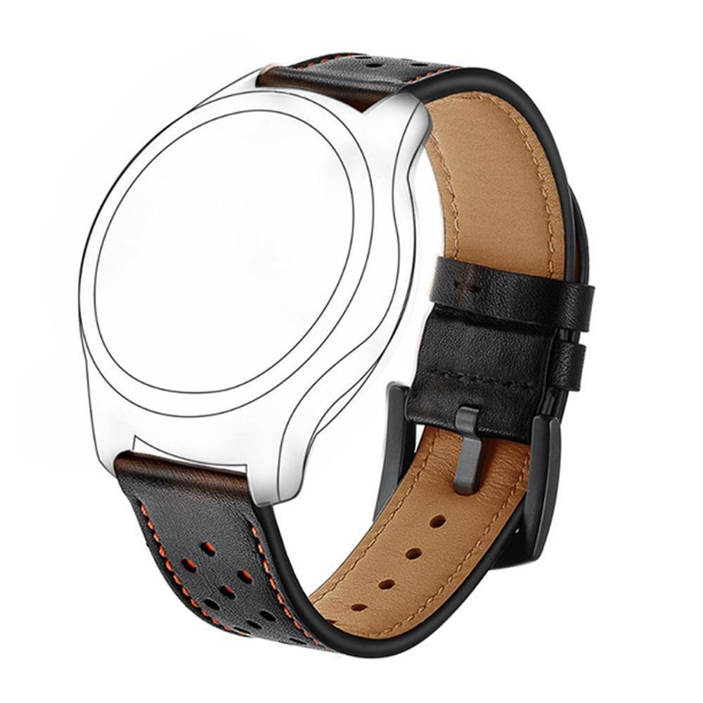 Yooside 22mm Genuine Leather Watchband Replacement watch Band Belt for Garmin Garmin Fenix 5/Forerunner 935/Approach S60 (Black)