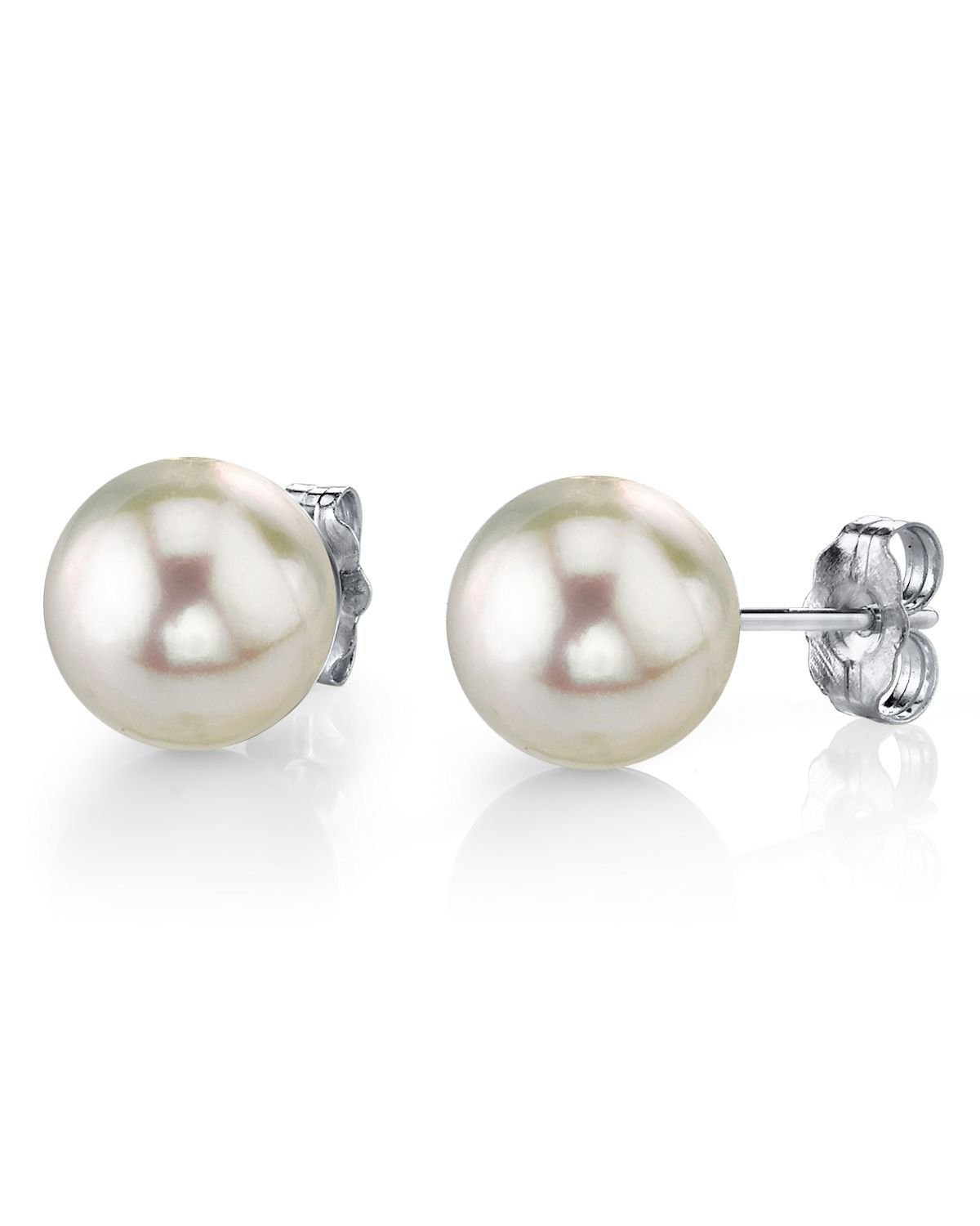 14K Gold 9-10mm White South Sea Cultured Pearl Stud Earrings - AAA Quality