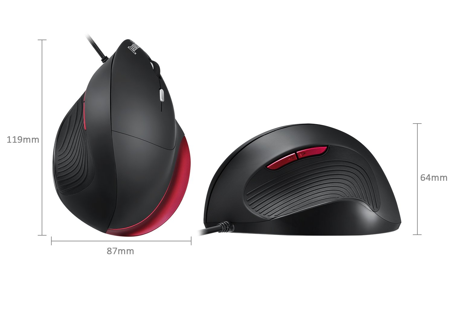 Perixx PM-718R-11562 Wireless 2.4 GHz Ergonomic Vertical Mouse Black Right Handed Design 5 Programmable Buttons