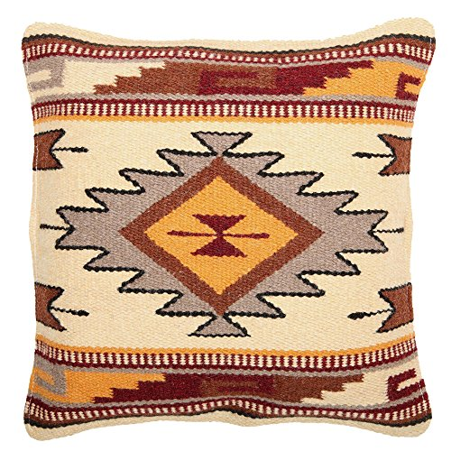 El Paso Designs Throw Pillow Covers 18 X 18- Hand Woven Wool in Southwest, Mexican, and Native American Styles- Hand Crafted Western Decorative Pillow Cases in Wool. (Cream Gold Diamond)