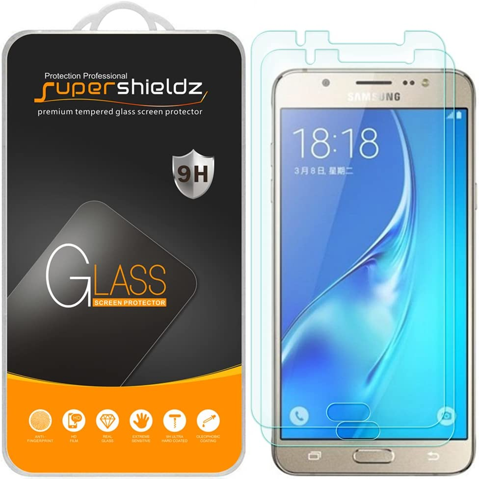 Supershieldz (2 Pack) for Samsung (Galaxy J7 2016) Tempered Glass Screen Protector, Anti Scratch, Bubble Free