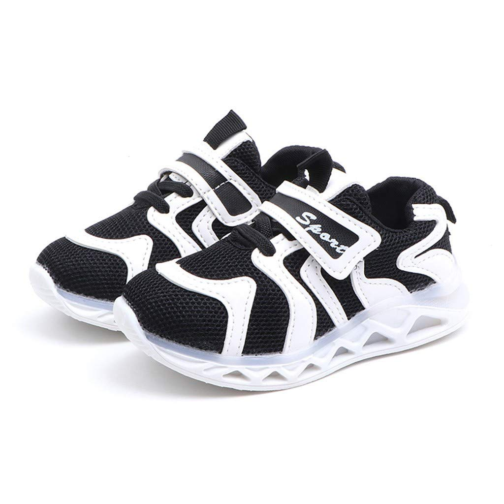 Zerototens Unisex Kids Led Light Up Shoes Light Flashing Trainers Sneakers Children Lightweight Mesh Breathable Sports Running Shoes Soft Sole Anti-Slip Athletic Walking Shoes