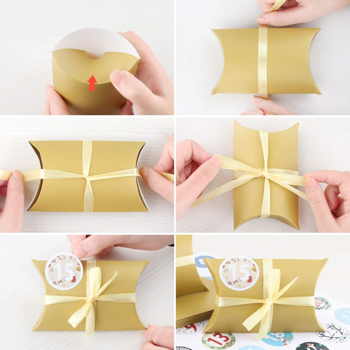 Inklusive Goldgurt 22m Adventskalender zum Bef/üllen Advent Kalender Handwerk Geschenkbox Weihnachtsbox 13x8,8cm 24 T/üten Adventskalender Hochwertiges Kraftpapier Blau Digitale Aufkleber