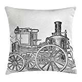 Heart Pain Steam Engine Throw Pillow Cushion Cover, Old Fireman Truck Drawing Effect Picture British Antique Transport, Decorative Square Accent Pillow Case, Charcoal Grey White
