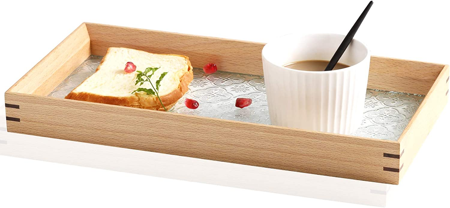 Wood Serving Tray, Food Tray, Decorative Tray for Coffee Table/Dining Table/Vanity/Dresser/Bathroom, Organizer with Embossed Glass, Rectangle
