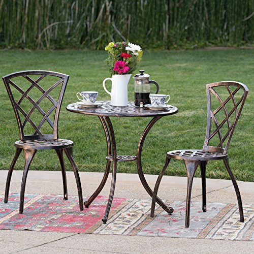 Christopher Knight Home 234793 Glenbrook Bistro Set (Garden Cast Furniture Aluminium)
