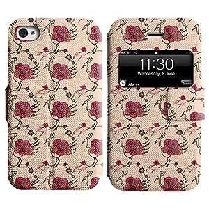AADes Casa Carcasa Funda Case Bandera PU Cuero - Stand Function - Apple iPhone 4 / 4S ( Pavo Real Rosado )