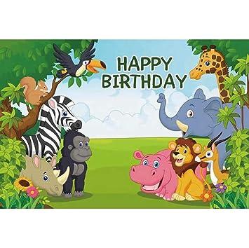 Cassisy 3x2m Vinilo Cumpleaños Telon de Fondo Feliz cumpleaños Bandera Animales del Bosque Campos de Hierba Verde Fondos para Fotografia Party bebé ...
