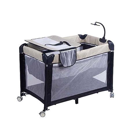 Cambiador para bebés Mesa cambiante con ruedas Cama plegable Cuna Transpirable Malla (115cmX60cmX80cm)