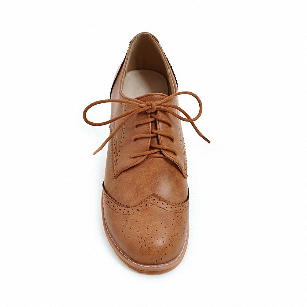Cicime Women's Flat Lace-up Wingtip Oxfords Vintage Brown Oxford Shoes Brogues by Cicime (Image #3)
