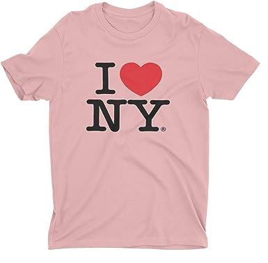I Love NY Nueva York Pantalla de Manga Corta impresión Camiseta, diseño de corazón, Color Rosa: Amazon.es: Ropa y accesorios