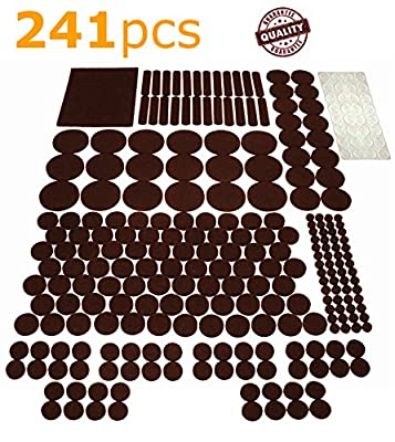 FE.OFF Felt Furniture Pads Set - GIANT Pack of 241 felt pads. ALL POPULAR SIZES of Furniture Feet protectors + BONUS! Protect Your Laminate \ Hardwood \ Linoleum \ Tile Flooring From Scratches!