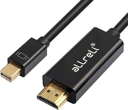 aLLreli Mini DP a HDMI, (3D, Full HD 1080p) Cable Mini DisplayPort (Thunderbolt) a HDMI TV 1.8 Metros para Apple Macbook Pro, Air, Mac Mini y PC: Amazon.es: Electrónica