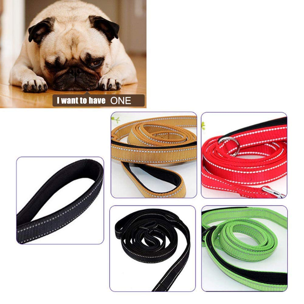Dog Leash for Large Dogs 2 Handles for Extra Control, Leash Traffic Control Dual Padded Handle Heavy Duty 5ft Long Training Leash Lead Greater Control Safety Training for Large Medium Dogs (Black)