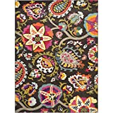 Safavieh Monaco Collection MNC229B Modern Colorful Floral Brown and Multicolored Area Rug (9' x 12')
