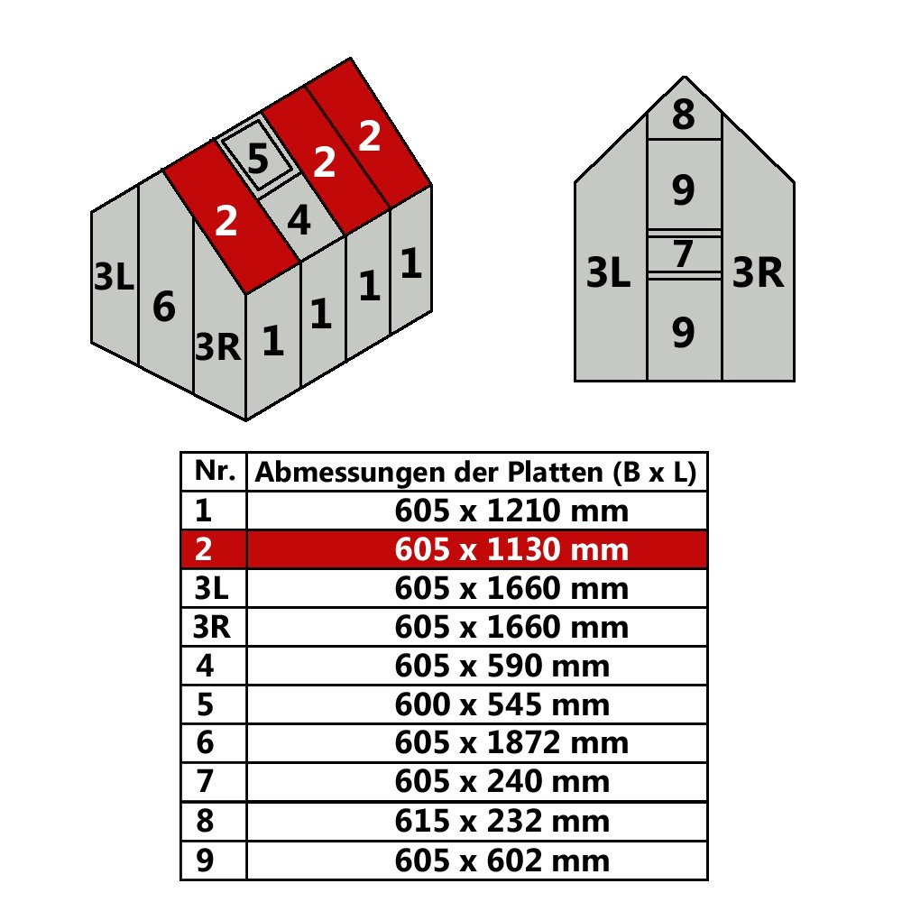 Hohlkammerplatte für Gewächshaus 4,75m² Gartenhaus Treibhaus (Nr ...