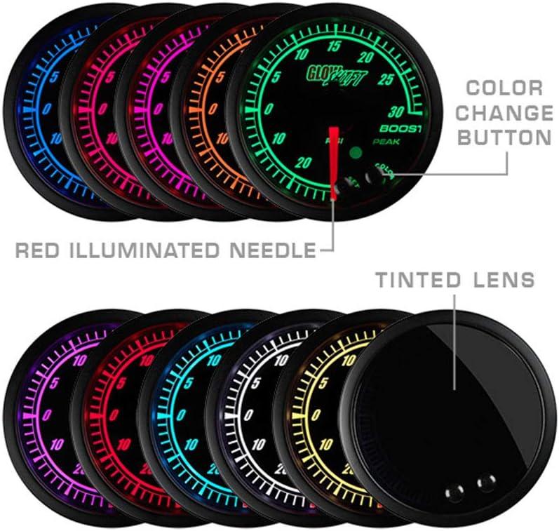 Peak Recall Black Dial Data Logging Output /& Weld-In Bung GlowShift Elite 10 Color Wideband Air//Fuel Ratio AFR Gauge Kit Tinted Lens 2-1//16 52mm Includes Oxygen Sensor