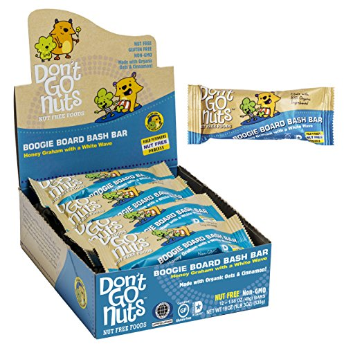 Don't Go Nuts Nut-Free Organic Snack Bars, Boogie Board Bash, Honey Graham with White Chocolate, 12 - Nut Less