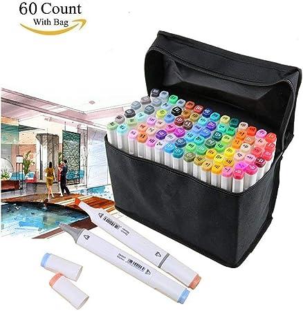 Rotuladores permanentes de 80 colores, con estuche de transporte, para dibujar bocetos, colorear adultos 60 Colores-Blanco: Amazon.es: Oficina y papelería