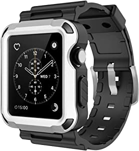 Simpeak Rugged Protective Case with Black Strap Bands Compatible with Apple Watch Series 3 Series 2 42mm, Silver