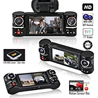 Indigi Dash Cam 2.7-inch HD TFT Display - Driving Vehicle Recorder Dash Cam DVR + Split LCD ( Front and Rear ) + Motion Activate + File Protection