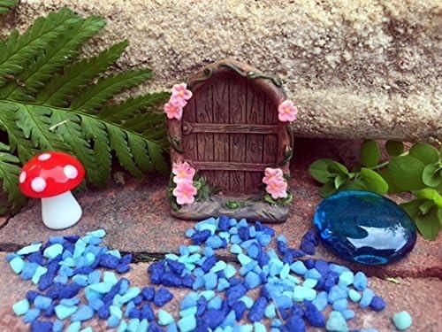 Mini puerta de hadas y setas jardín de hadas con color grava y piedra Gem: Amazon.es: Jardín