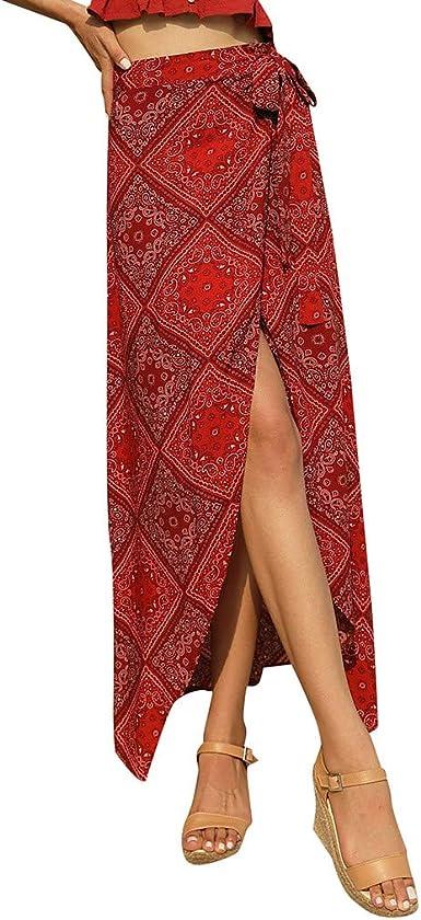 Sylar Faldas Mujer Midi Faldas Largas Bohemias con con Cordones ...