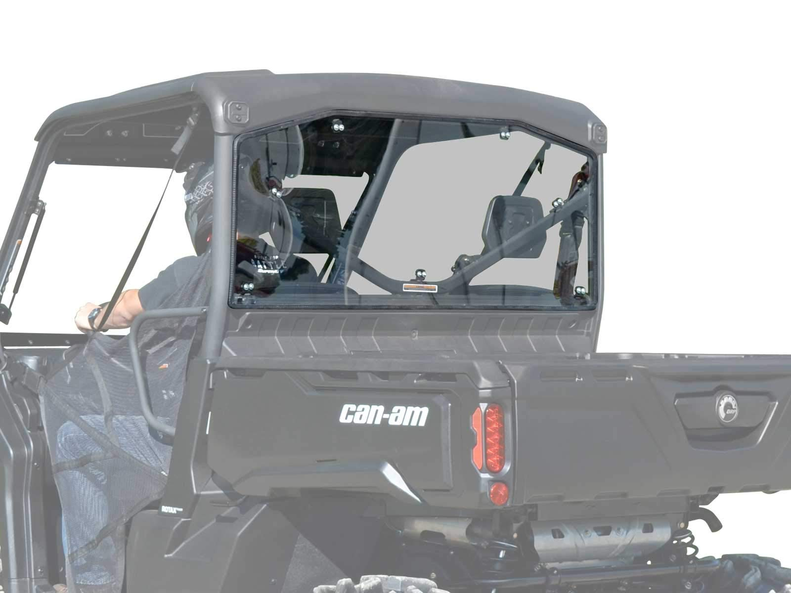 SuperATV Heavy Duty Rear Windshield for Can-Am Defender (2016+) - Light Tint Standard Polycarbonate - Easy to Install!