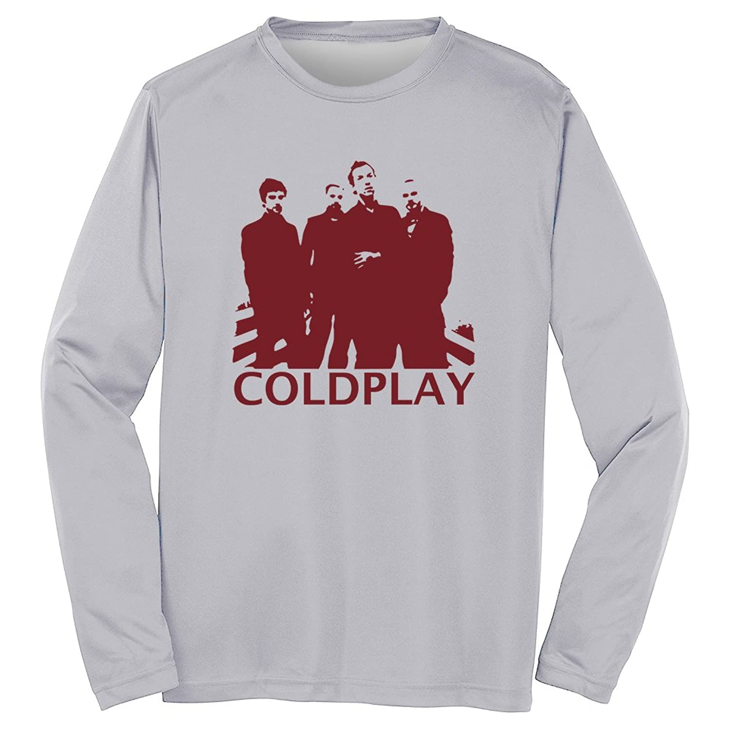 Men's Crew Neck Coldplay Pattern Printed T-shirt Casual Long Sleeve Tees