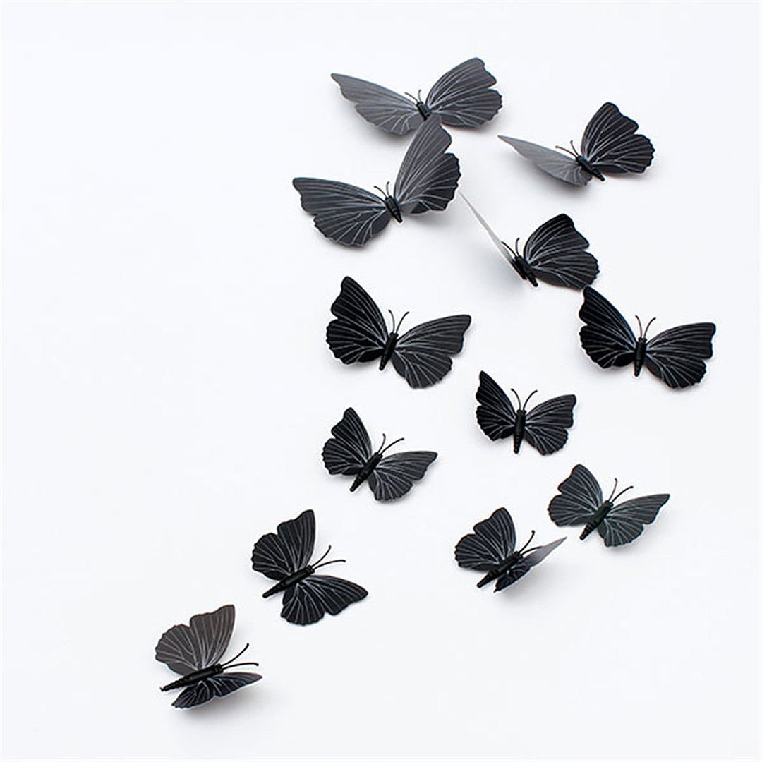 12PcsX 1Color Art Decal Girls Home Room Wall Stickers 3D Butterfly Decorations Decors Black Color Set11 Particles