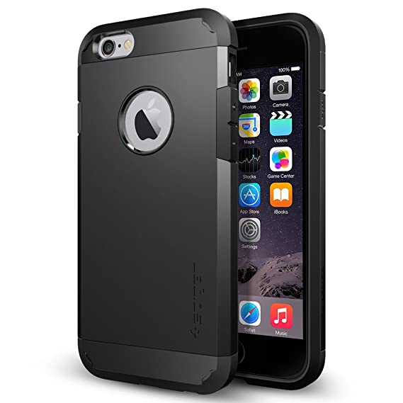 new style 33c91 938e8 Spigen Tough Armor iPhone 6 Case with Extreme Heavy Duty Protection and Air  Cushion Technology for iPhone 6S / iPhone 6 - Smooth Black
