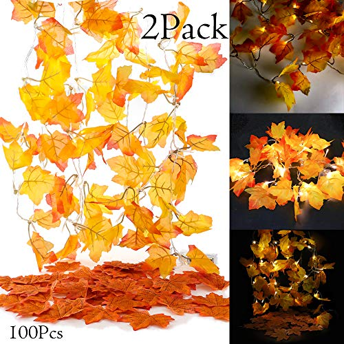 Leaves Light - Whonline Decorations LED Maple String Lights Battery Operated Fairy Fall Autumn Garland Decorative with 100pcs Artificial Maple Leaves for Fall (Maple String Lights)