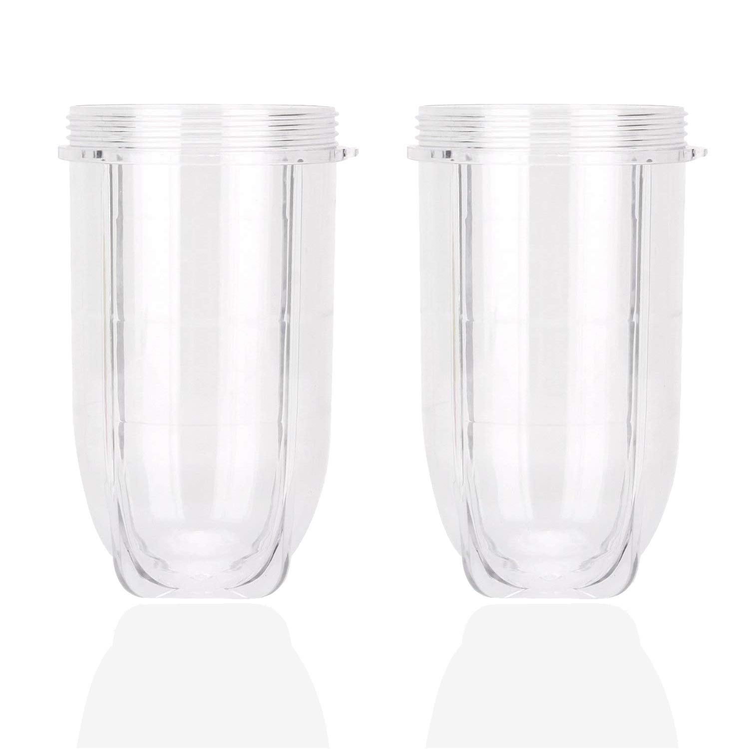 16OZ Cups Compatible with 250W Magic Bullet Blender Mixer Juicer, Clear Plastic Tall Blending Large Replacement Parts by Wadoy - 2 x Tall Cup