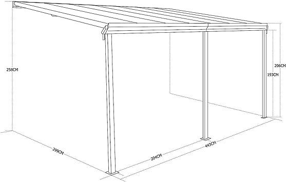 Alices Garden - Pérgola de pared en aluminio y policarbonato de 3x4 m: Amazon.es: Jardín