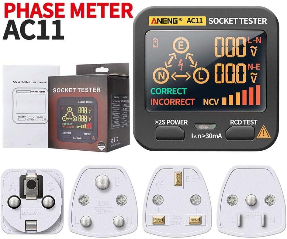 Draulic Spannungspr/üfer Digital Smart Socket Tester US//UK//EU//SA Stecker RCD-Detektor F/ür ANENG AC11
