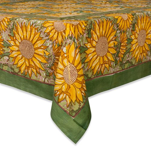 (Couleur Nature Sunflower Tablecloth, 71-inches by 106-inches, Yellow/Green)