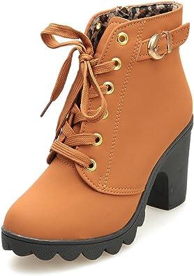 Zapatos Mujer Invierno Botines de tacón Alto Botas con Cordones ...