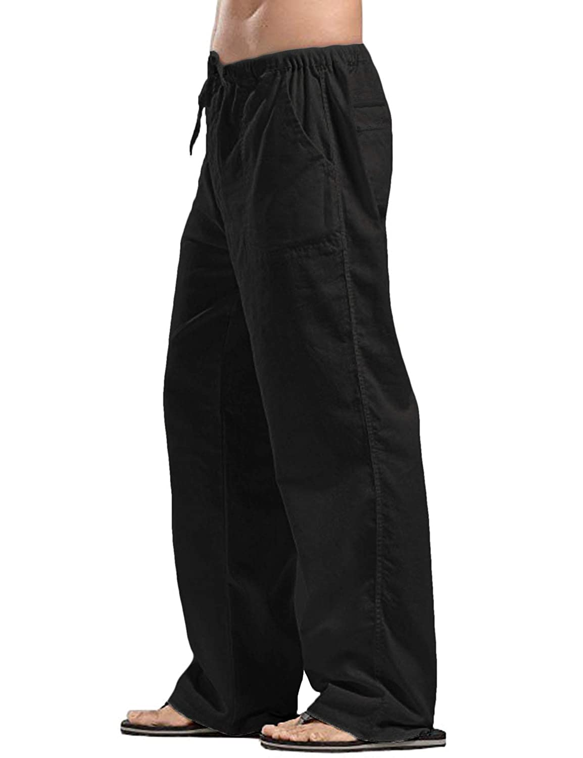 COOFANDY Mens Linen Loose Casual Lightweight Elastic Waist Yoga Beach Pants
