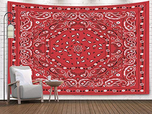 Pamime Home Decor Tapestry for Christmas Red Bandana Print Wall Tapestry Hanging Tapestries for Dorm Room Bedroom Living Room 80x60 Inches Tapestry ()