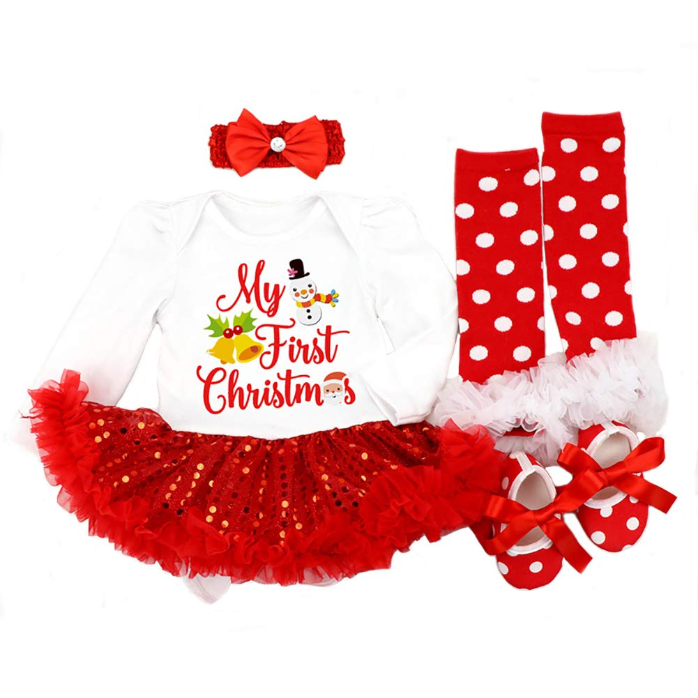 f57acdcba898 DecStore Baby Girls My First Christmas Costume Party Dress Tutu Outfits  4PCS Set  Amazon.co.uk  Clothing