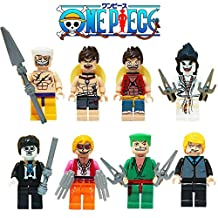 One piece Anime Lego Minifigure 8 Set Action Figures Collectables (8 Pieces) Series Building Blocks with Lego Toys