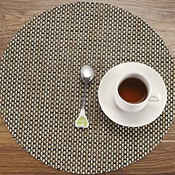hebe round placemats set of 4 washable placemats for round table heat resistant stain resistant vinyl round kitchen table mats - Kitchen Table Mats