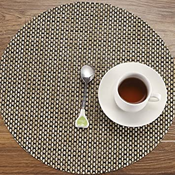 HEBE Placemats For Round Table 126quot Set Of 4 Washable Heat Resistant Woven