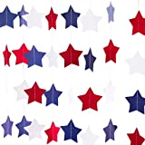 Red White Blue Star Streamers Patriotic 4th of July Decorations (2 strands for 28 feet)