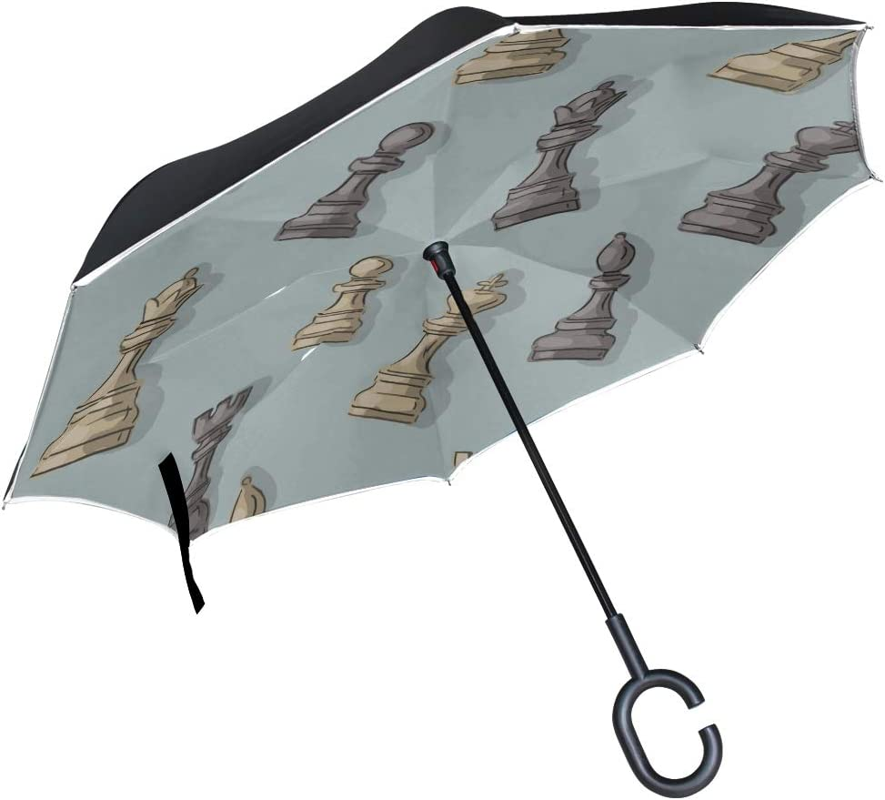 Double Layer Inverted Inverted Umbrella Is Light And Sturdy Pattern Chess Reverse Umbrella And Windproof Umbrella Edge Night Reflection