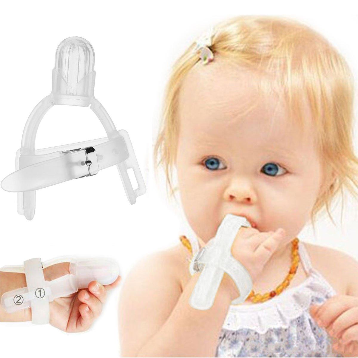 KINGDUO Chuparse El Dedo Silicona Pulgar Chupando Detener Dedo Protector Protector para 1-5 Años Los Niños del Bebé