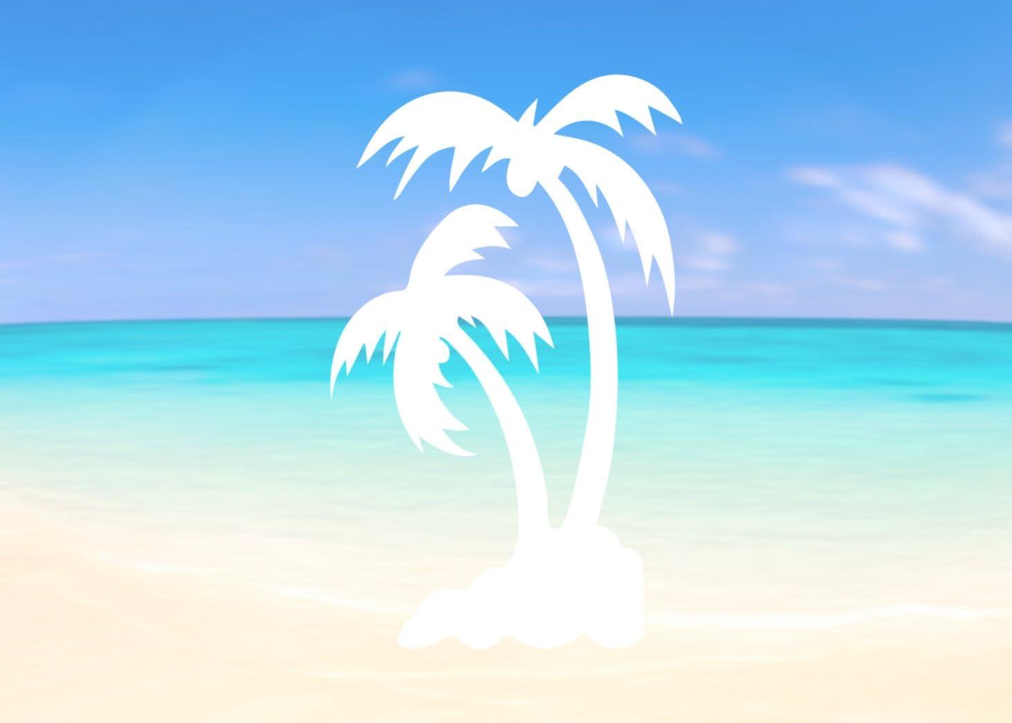 Tropical Palm Trees Blue Car Vinyl Sticker SELECT SIZE
