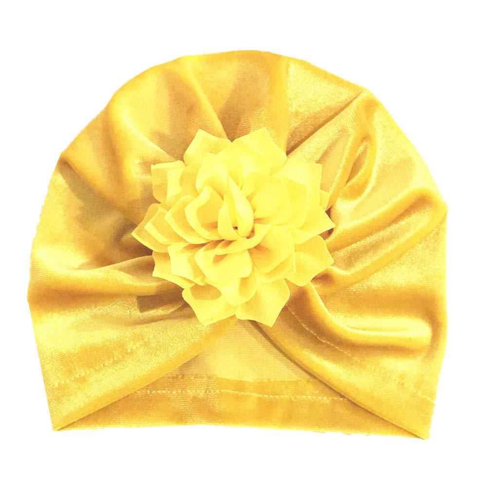 Rameng- Nouveau-né Bébé Turban Bandeau Nœud Bonnet à Fleur Chaud Hiver Style Indien
